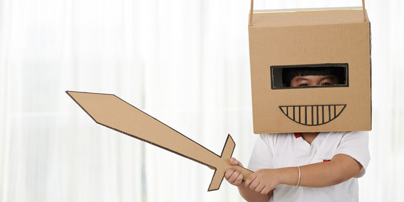 DIY Halloween Costumes Made from Moving Boxes